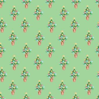 Padrão sem emenda com ilustrações em aquarela de natal sobre fundo verde.