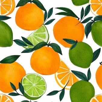 Padrão sem emenda com laranja aquarela e frutas cítricas de limão em fundo branco