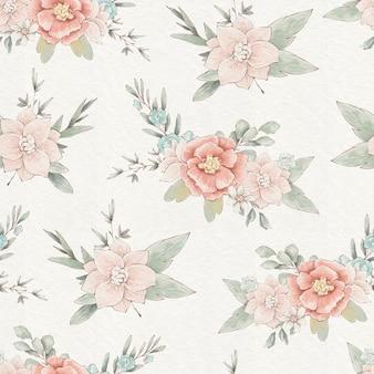 Padrão sem emenda com lindas flores delicadas da primavera e folhas