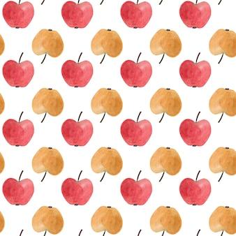 Padrão sem emenda com maçãs aquarela vermelhas e amarelas.