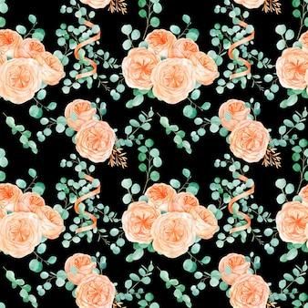Padrão sem emenda com pêssego e laranja com inglês rosa austin flor e eucalipto