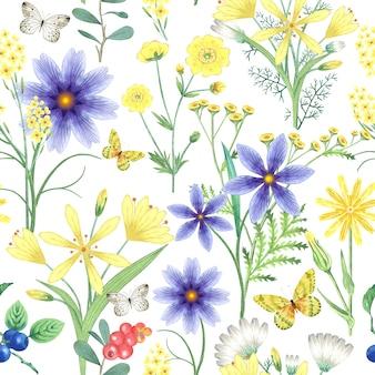 Padrão sem emenda com plantas de flores, borboletas, bagas.