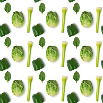 Padrão sem emenda com vegetais verdes em fundo branco