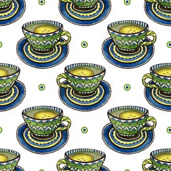 Padrão sem emenda com xícaras de chá e decoração de caligrafia. textura aquarela para design de embalagem