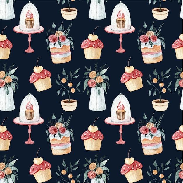 Padrão sem emenda da ilustração aquarela doce sobremesa. bolo delicioso e ilustração de chocolate. conjunto floral de casamento.