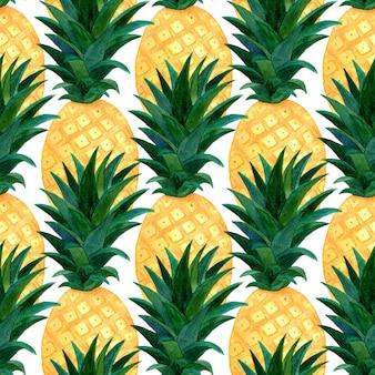 Padrão sem emenda de abacaxis em aquarela. repetindo a textura com abacaxi realista. design de papel de parede de moda verão