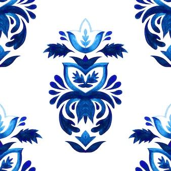 Padrão sem emenda de aquarela damasco azul, ornamento de ladrilhos. fundo de filigrana abstrato persa.