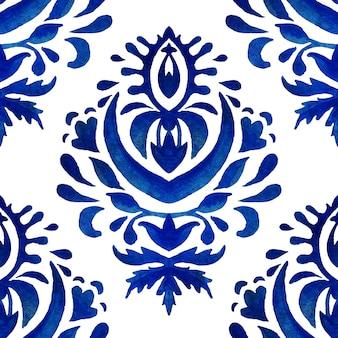 Padrão sem emenda de aquarela damasco azul, ornamento de ladrilhos renascentistas índigo. fundo de filigrana abstrato azul royal. design elegante rendilhado decorativo revival.