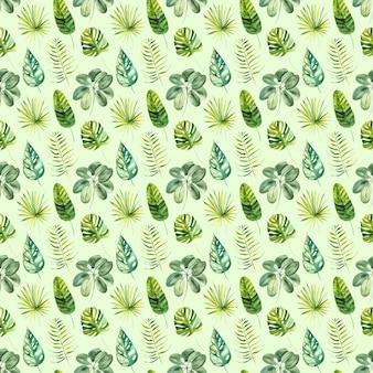 Padrão sem emenda de aquarela exótica folhas verdes tropicais