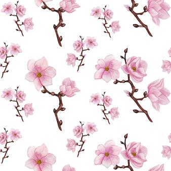 Padrão sem emenda de aquarela magnólia, flores cor de rosa, padrão de ramos de magnólia