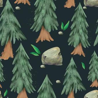 Padrão sem emenda de aquarela pinheiro, floresta perene textura de natal