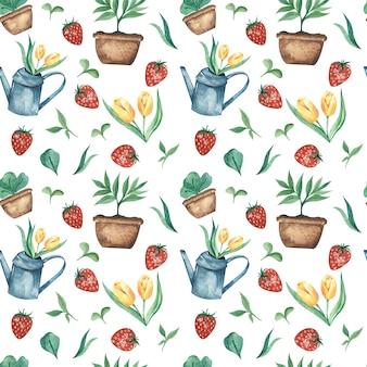 Padrão sem emenda de aquarela primavera com regador de jardim, tulipas amarelas, morangos e vegetação jovem