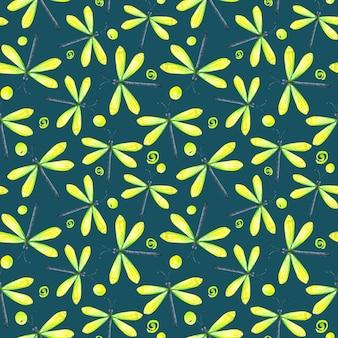 Padrão sem emenda de aquarela verde néon amarelo libélula borboleta e pontos no fundo esmeralda