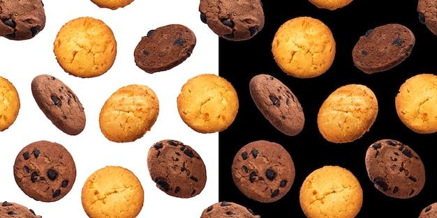 Padrão sem emenda de biscoitos de aveia, isolado em fundos brancos e pretos