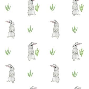Padrão sem emenda de coelho em aquarela, coelhinho fofo