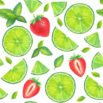 Padrão sem emenda de coquetel de mojito desenhado à mão em aquarela com fatias de limão, folhas de hortelã e morango isolado no fundo branco