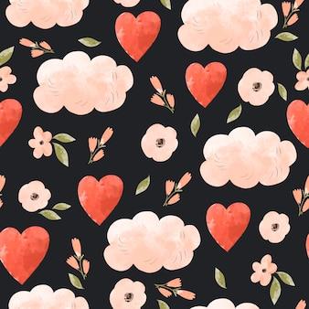 Padrão sem emenda de coração floral fofo.