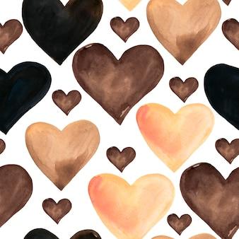 Padrão sem emenda de corações em aquarela