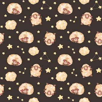 Padrão sem emenda de cordeiros com estrelas, ovelhas bebê Foto Premium