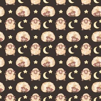 Padrão sem emenda de cordeiros fofos com padrão de estrelas