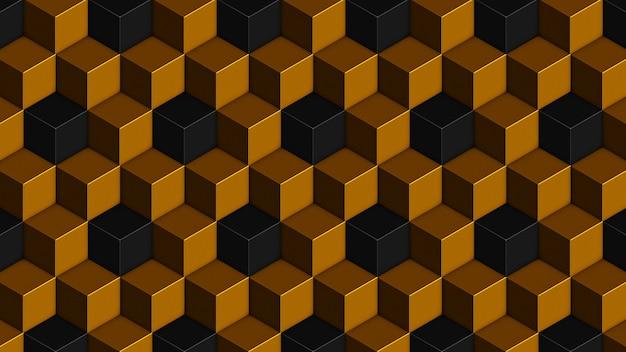 Padrão sem emenda de cubos pretos dourados isométricos