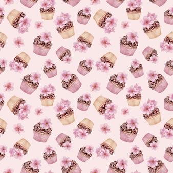 Padrão sem emenda de cupcakes de chocolate, flores de magnólia, sobremesas em aquarela
