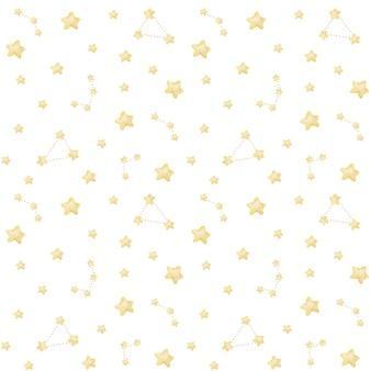 Padrão sem emenda de estrelas em aquarela, céu estrelado com constelações
