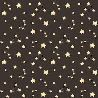 Padrão sem emenda de estrelas em aquarela com constelações