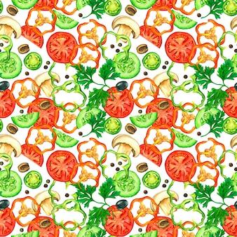 Padrão sem emenda de fatias de legumes desenhados por aquarela