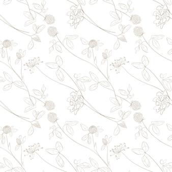 Padrão sem emenda de flores de prado flores de verão lápis flores esboçadas padrão de campo de flores