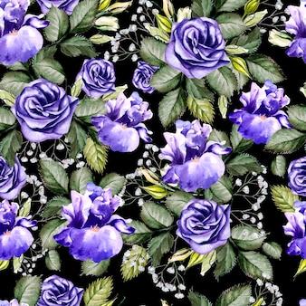 Padrão sem emenda de flores em aquarela brilhantes com íris e anêmonas. ilustração