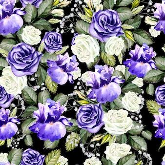 Padrão sem emenda de flores em aquarela brilhantes com rosas, íris e anêmonas. ilustração
