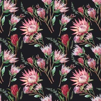Padrão sem emenda de flores protea