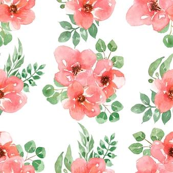 Padrão sem emenda de flores vermelhas, papel de rosas de jardim em aquarela, florais para tecido, padrão de repetição de flor, design de impressão, álbum de recortes