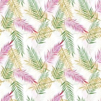 Padrão sem emenda de folhas de palmeira tropical