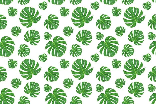 Padrão sem emenda de folhas de palmeira verdes isoladas