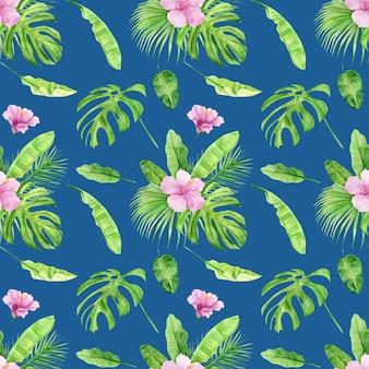 Padrão sem emenda de folhas tropicais e hibiscos de flores.