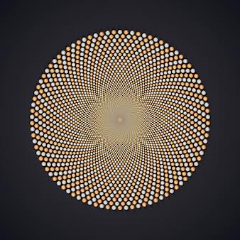 Padrão sem emenda de fractal circular de esferas laranja e brancas.