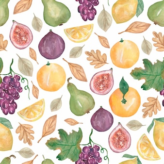 Padrão sem emenda de frutas em aquarela. comida saudável de outono colheita. produtos de dieta. mão desenhada aquarela ilustração gráfica. laranja, pera, limão, flores, folhas, figos.