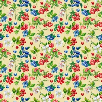 Padrão sem emenda de frutos silvestres. lingonberry, boldo, flores