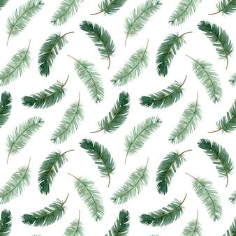 Padrão sem emenda de galho de árvore de natal em aquarela. fundo de ramo de pinheiro de inverno. ilustração botânica ramos verdes desenhados à mão. padrão de ano novo.