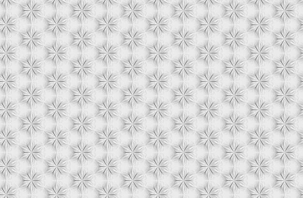 Padrão sem emenda de geometria tridimensional de luz com flores de seis pontas