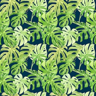 Padrão sem emenda de ilustração em aquarela de folha tropical monstera.