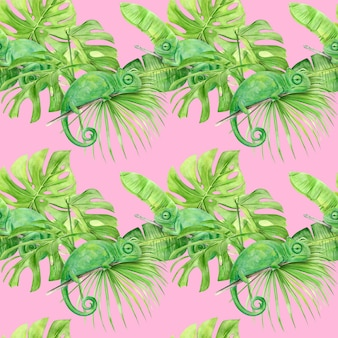 Padrão sem emenda de ilustração em aquarela de folhas tropicais e camaleão.