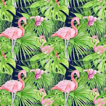 Padrão sem emenda de ilustração em aquarela de folhas tropicais e flamingo rosa.