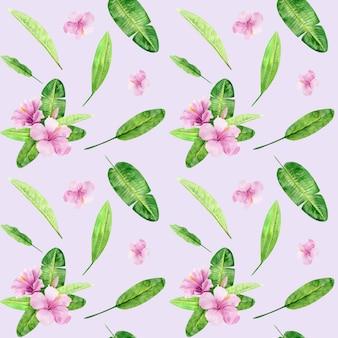 Padrão sem emenda de ilustração em aquarela de folhas tropicais e flor de hibisco