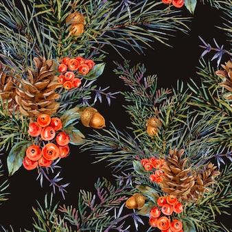 Padrão sem emenda de inverno em aquarela com buquê de ramos de abeto, pinhas