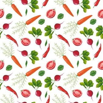 Padrão sem emenda de legumes em fundo branco. rabanete guache, pimenta malagueta, tomate e estampa de cenoura. fundo de hortaliças.