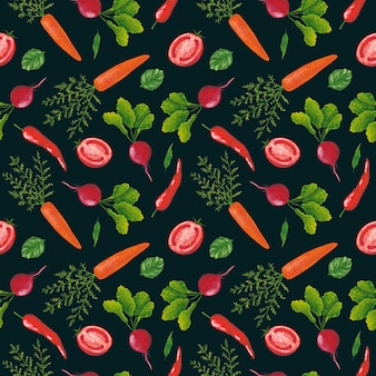 Padrão sem emenda de legumes em fundo escuro. rabanete guache, pimenta malagueta, tomate e estampa de cenoura. fundo de hortaliças.
