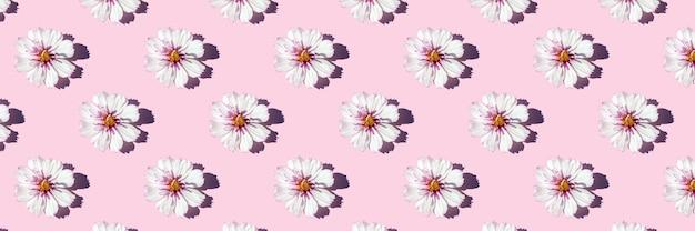 Padrão sem emenda de luz solar na moda feito com flores delicadas em fundo rosa, como pano de fundo ou textura. conceito floral mínimo. banner para o seu design